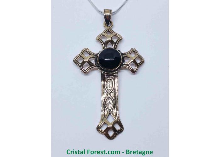 Croix Latine - Bronze et Onyx - 5,5 x 3,3 x 0,1cm / 5,80 gr