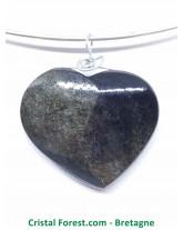 Obsidienne dorée - Pendentif Coeur Cerclés Argent