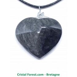 Obsidienne Argentée - Pendentif Coeur - Cerclé Argent