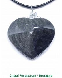Obsidienne Argentée - Pendentif Bélière Argent - Cerclé Argent