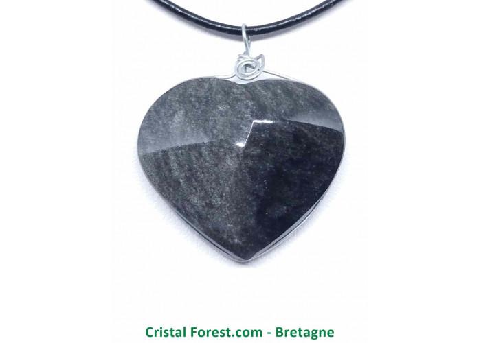 Obsidienne Argentée - Pendentif Coeur - Cerclé Argent - 2,5 x 2,9 x 0,9cm / 8,58gr
