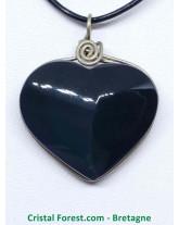 Obsidienne oeil céleste (Arc en ciel) - Pendentifs coeur Cerclé Argent