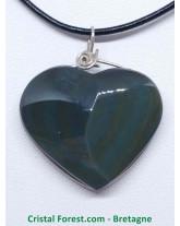 Obsidienne Mentogochol (Manta Huichol) - Pendentifs Coeur Cerclé Argent
