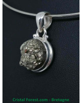 Pyrite de fer AAA - Pendentif Serti Argent - Qualité Joaillerie