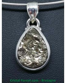 Pyrite de fer - Pendentif Serti Argent - Qualité Joaillerie