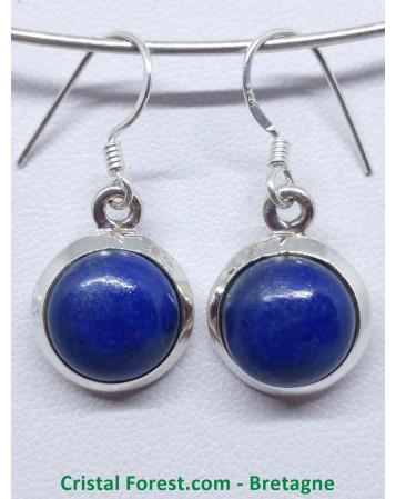 Lapis Lazuli - Boucles d'oreilles serties Argent - Fermoir crochet