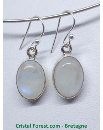 Labradorite Blanche (Arc en Ciel) AAA - Boucles d'oreilles serties Argent - Fermoir crochet