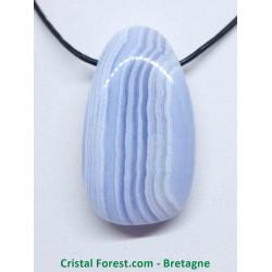 Calcédoine bleue - Galet percé