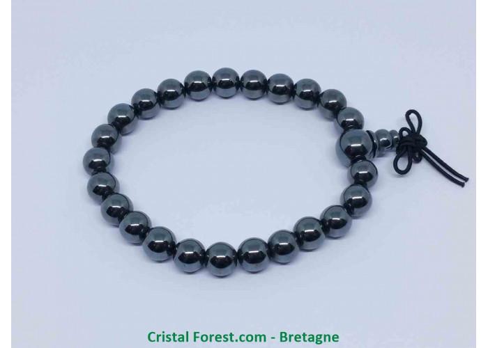 Hématite - Bracelet Mala Tibétain - Boules 8mm