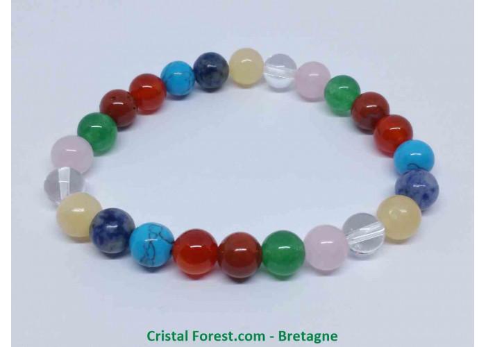 Multipierres - Bracelet fantaisie - Longueur 16cm Extensible (Tour de poignet) - Boules de 8 mm
