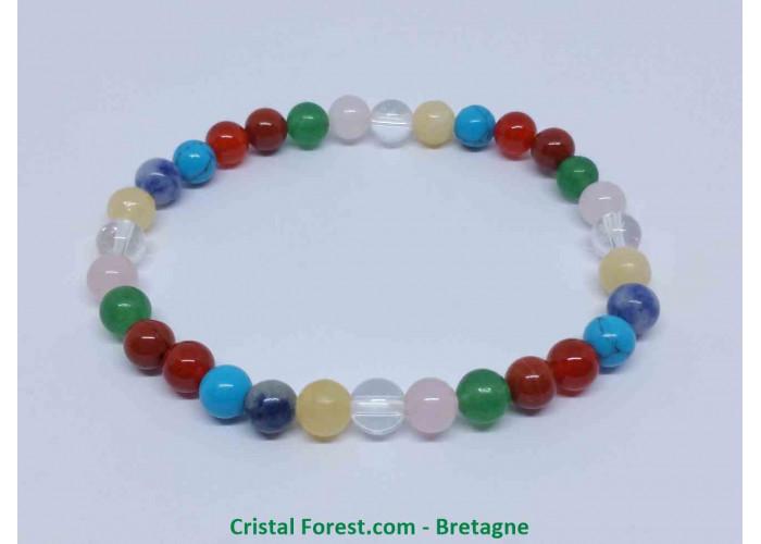 Multipierres - Bracelet fantaisie - Longueur 17.5cm Extensible (Tour de poignet) - Boules de 8mm