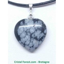 Obsidienne Flocon de Neige - Pendentif Coeur
