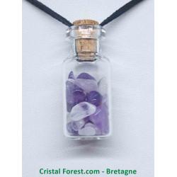 Améthyste - Pendentif Fiole en verre
