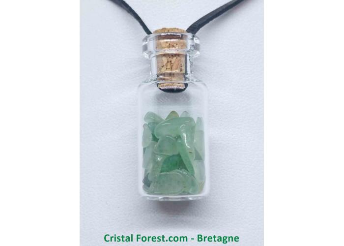 Aventurine Verte - Pendentif Fiole en verre - Fiole : H. 3,7 cm x diam. 1,6 cm  / 10,00gr