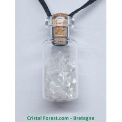 Cristal de Roche - Pendentif Fiole en verre