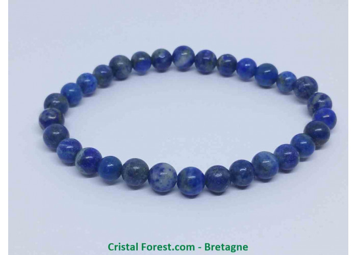 Lapis lazuli - Bracelets boules - AA : Boules 6 /7 mm - Longueur : 16 cm Extensible (Tour du poignet) / 11 env