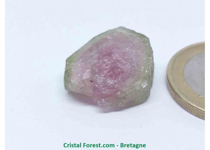 Tourmaline melon d'eau - Cristaux naturels Bruts & Gemmes  - 1,8 x 1,7 x 1 cm / 4,80gr