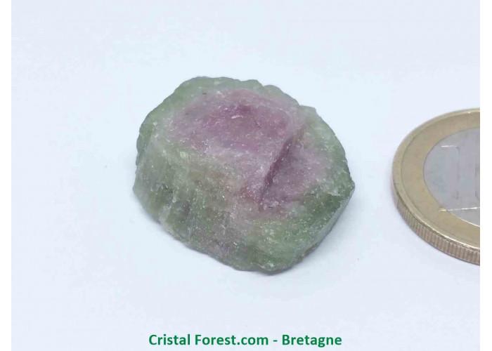 Tourmaline melon d'eau - Cristaux naturels Bruts & Gemmes  - AA : 2,5 x 2,2 x 0,9 cm / 7,7gr