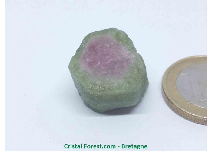 Tourmaline melon d'eau - Cristaux naturels Bruts & Gemmes  - AA : 1,7 x 1,8 x 1,4 cm / 8,6gr