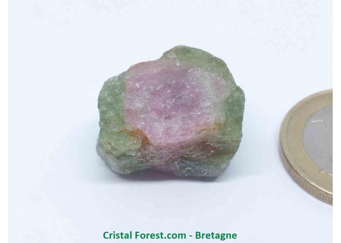 Tourmaline melon d'eau - Cristaux naturels Bruts & Gemmes  - AA : 2,1 x 1,9 x 1,4 cm / 11,8gr
