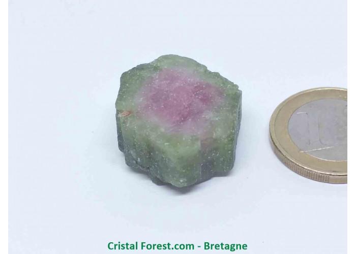 Tourmaline melon d'eau - Cristaux naturels Bruts & Gemmes  - AA : 2,4 x 2,3 x 1,1 cm / 12,2gr