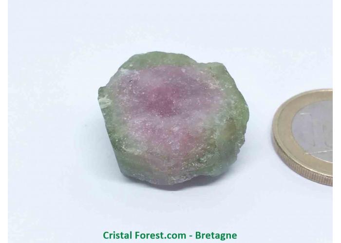 Tourmaline melon d'eau - Cristaux naturels Bruts & Gemmes  - AA : 2,5 x 2,5 x 1,3 cm / 14,2gr
