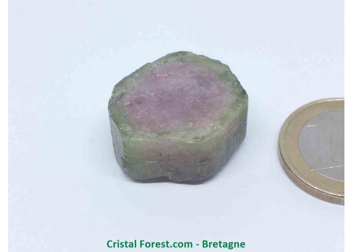 Tourmaline melon d'eau - Cristaux naturels Bruts & Gemmes  - AA : 2,3 x 2,2 x 1,4 cm / 14,3gr
