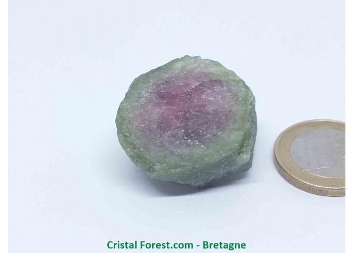 Tourmaline melon d'eau - Cristaux naturels Bruts & Gemmes  - AA : 3 x 2,5 x 2 cm / 24,4gr
