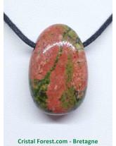 Pendentif Unakite - pierre percée