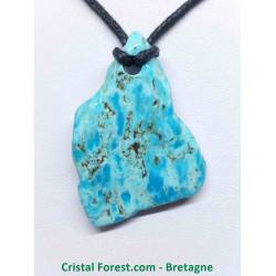 Turquoise d'Arizona extra - Pendentifs pierre percée 3,5 à 4 cm
