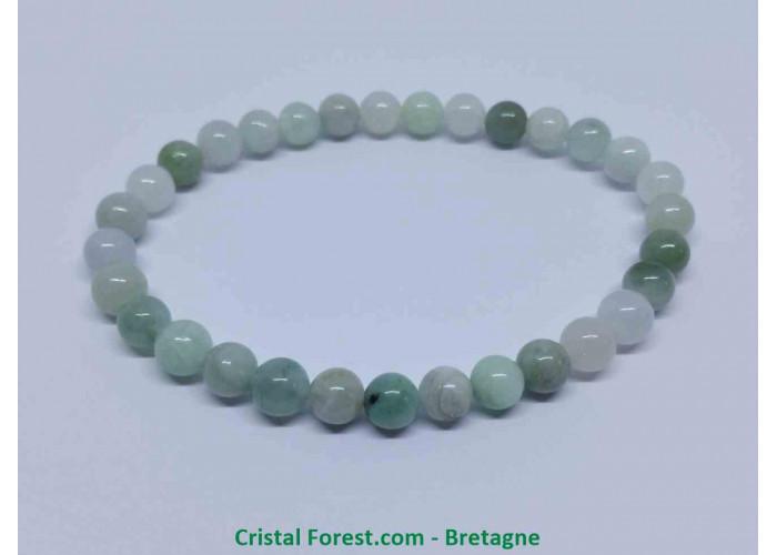 Jade de Chine / Serpentine - Bracelet boule 6mm  - Longueur 17cm Extensible tour du poignet - Boules de 6mm
