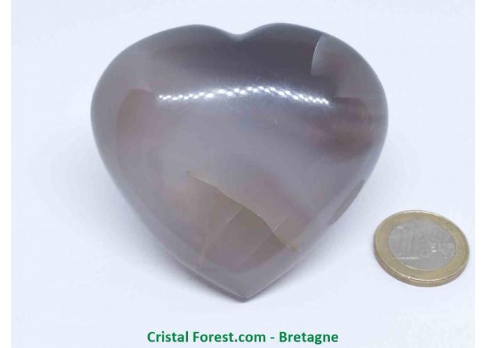 Agate Rubanée - Gros Coeurs à poser - 7.1 x 6.5 x 2.9cm / 182,30gr
