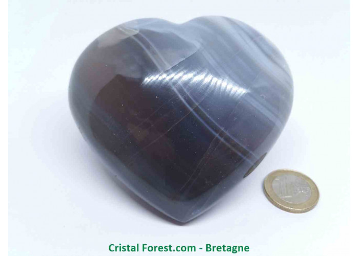 Agate Rubanée - Gros Coeurs à poser - 9.2 x 8.6 x 4.3cm / 449,90gr