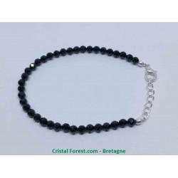Spinelle noire - Bracelet réglable & billes facétées 4mm