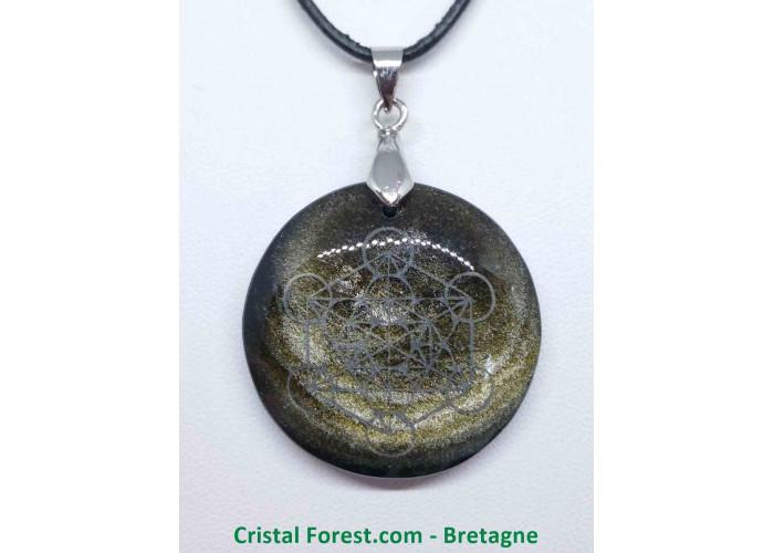 Obsidienne dorée - Pendentif gravé Métatron