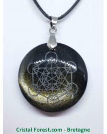 Obsidienne dorée AAA - Pendentif gravé Métatron