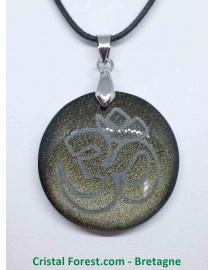 Obsidienne dorée & ÔM (AUM) - Pendentif gravé