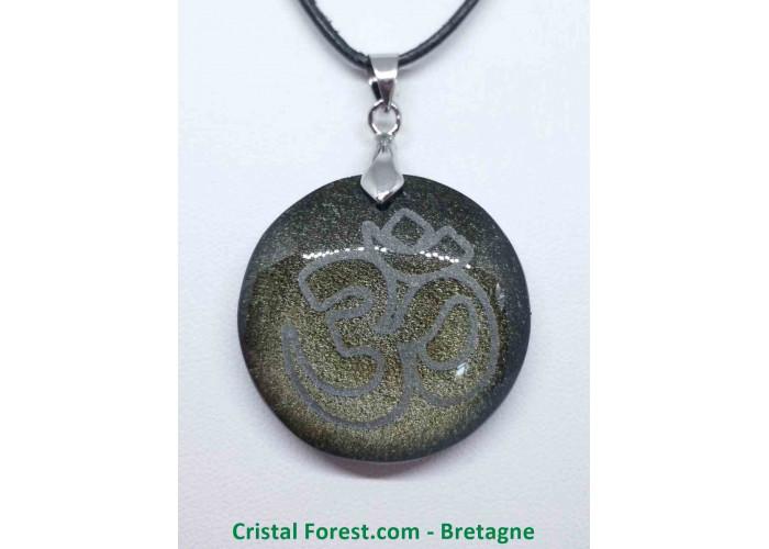Obsidienne dorée & ÔM (AUM) - Pendentif gravé - Diam 3.3 x 0.8cm / 14,10grammes
