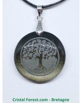 Obsidienne dorée - Pendentif arbre de vie gravé
