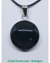 Obsidienne Mentogochol (Manta Huichol) - Pendentifs Cerclé - Bélière métal