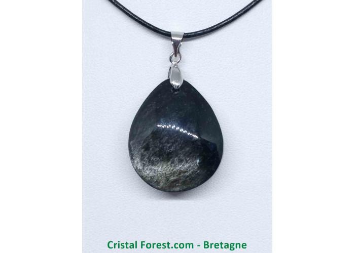 Obsidienne argentée - Pendentifs bélière argentée - 2.8 x 2.3 x 1.1cm