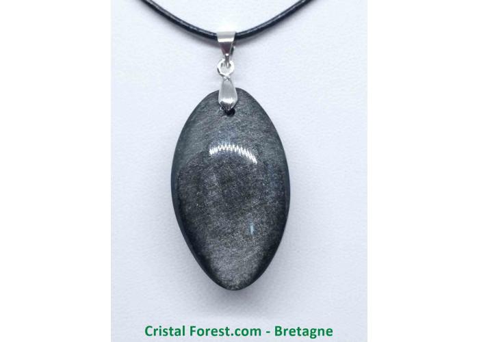 Obsidienne argentée - Pendentifs bélière argentée - 3.7 x 2.1 x 1.3cm