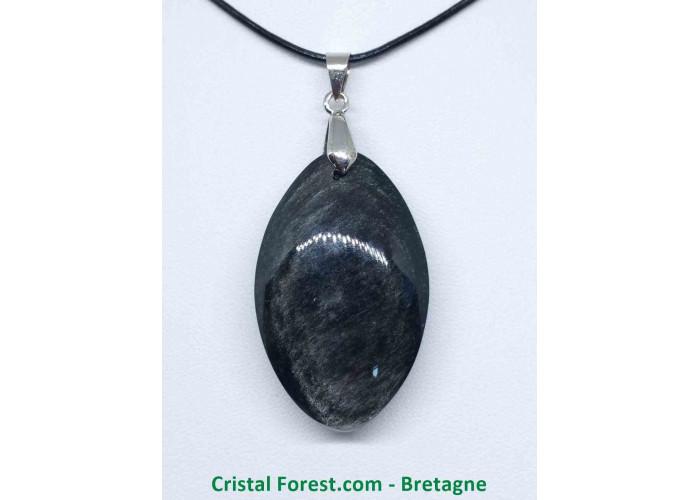 Obsidienne argentée - Pendentifs bélière argentée - 4.2 x 2.6 x 1.2cm
