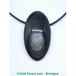 Obsidienne Argentée AAA - Pendentif Pierre Percée