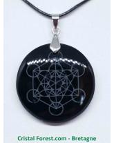 Obsidienne noire - Pendentif Rond Métatron
