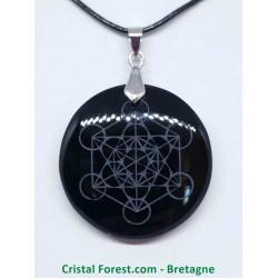 Obsidienne noire - Pendentif Métatron