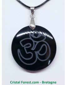 Obsidienne noire - Pendentif Rond Ôm