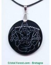Obsidienne noire - Pendentif Rond Ganesh