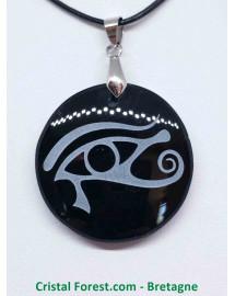 Obsidienne noire - Pendentif Rond Oeil d'Horus