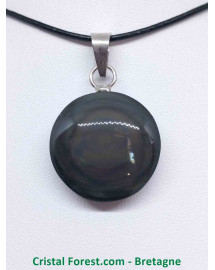 Obsidienne Oeil céleste (Arc en ciel) - Pendentif Bélière Cerclé Métal